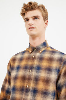 Check cotton casual shirt, Blue/Brown, hi-res
