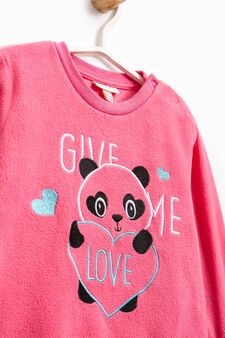 Solid colour pyjamas with panda embroidery, Coral Pink, hi-res
