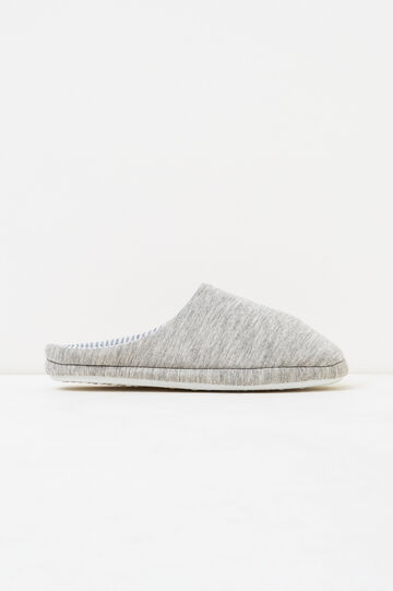 Solid colour and striped slippers, Grey, hi-res