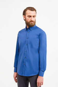 Formal shirt with pocket, Dark Blue, hi-res