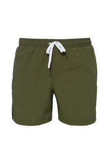 Solid colour swim boxer shorts, Green, hi-res