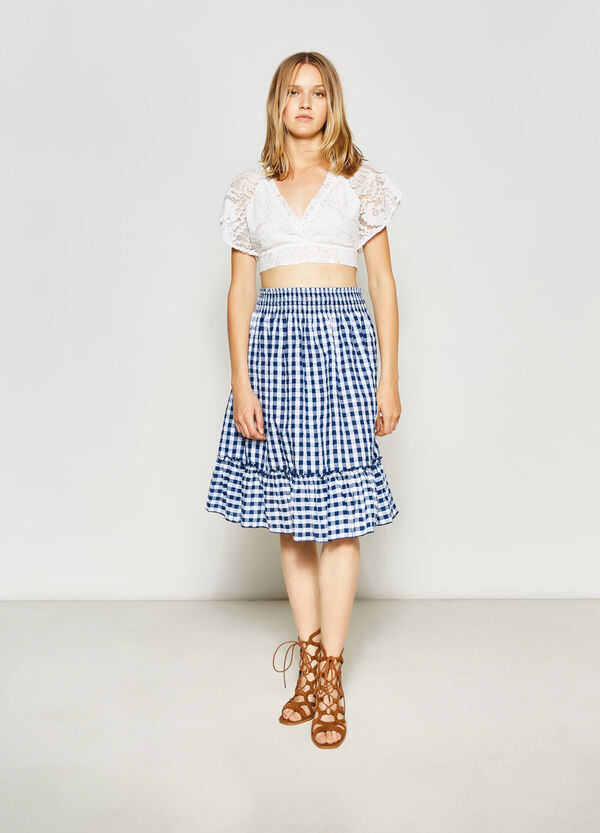 High-waisted cotton skirt | OVS
