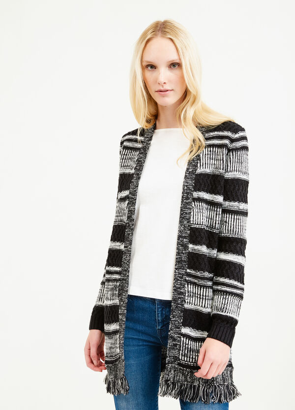 Long striped cardigan with fringes | OVS