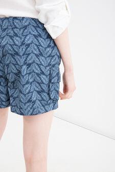 Shorts puro cotone stampati, Blu/Azzurro, hi-res