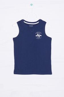 Solid colour 100% cotton vest, Dark Blue, hi-res