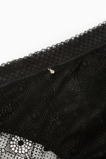 Solid colour stretch lace briefs, Black, hi-res