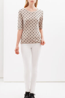 T-shirt with boat neck, Beige, hi-res