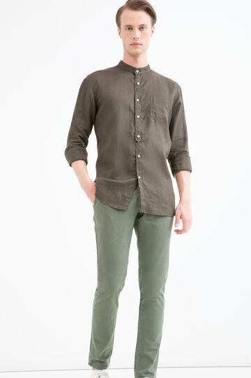 Linen shirt with mandarin collar., Brown, hi-res