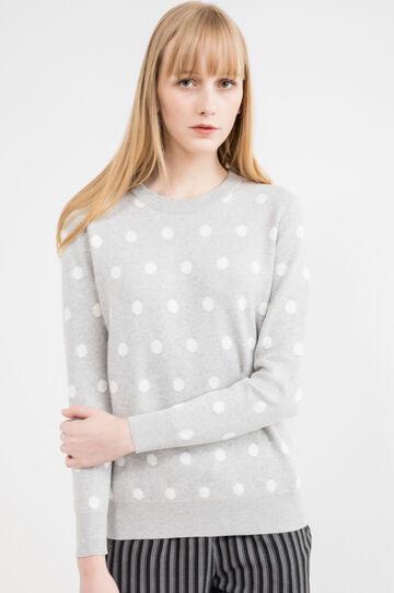 Polka dot cotton-viscose pullover, Grey, hi-res