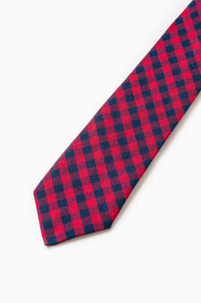 Tie with check pattern, Blue/Red, hi-res