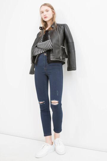 Striped cardigan with fringe, Black, hi-res