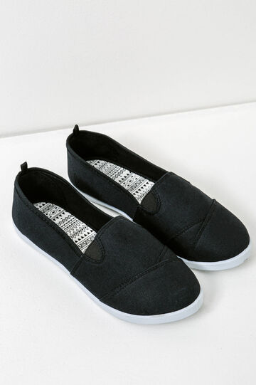 Canvas slip-on shoes with contrasting sole, Black, hi-res