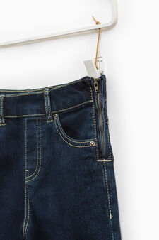 Stretch jeans with side zip, Denim, hi-res