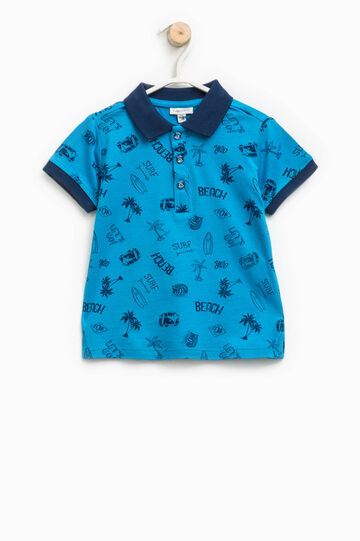 Polo shirt in 100% cotton with pattern, Blue/Light Blue, hi-res