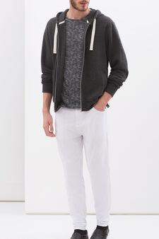 Denim-cut trousers in stretch fleece, White, hi-res