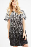 Curvy stretch dress with all-over print, Black, hi-res
