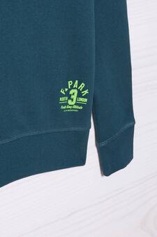 Plain 100% cotton sweatshirt, Deep Blue, hi-res