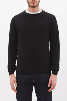 Crew neck pullover in silk and cashmere., Black, hi-res