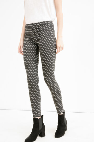 High waist trousers with all-over print, Black, hi-res