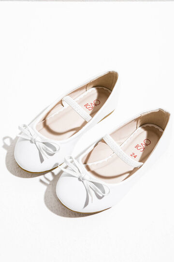 Ballerina flats with elastic strap and bow, White, hi-res