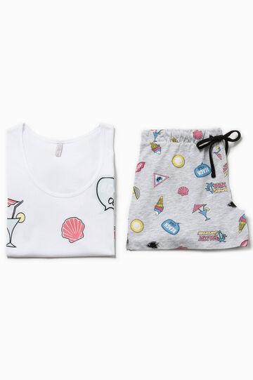 Patterned top and shorts pyjama set, White/Grey, hi-res