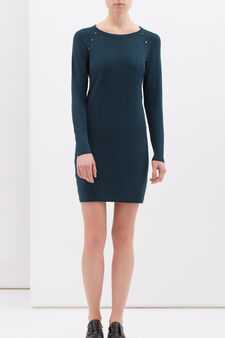 Dress in stretch viscose blend, Dark Green, hi-res