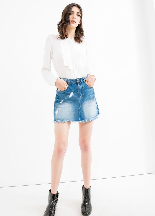 Denim skirt with eyelets | OVS