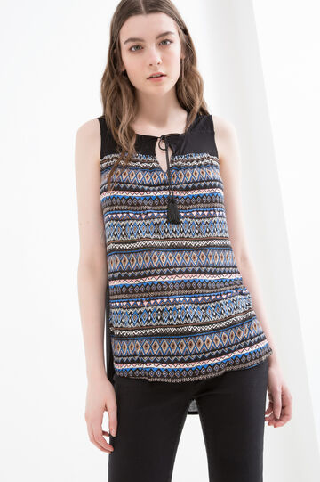 100% viscose top with ethnic pattern