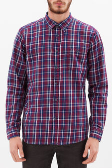 Slim fit check cotton shirt, Blue/Red, hi-res