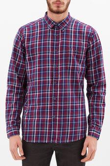 Camicia slim fit cotone quadri, Blu/rosso, hi-res