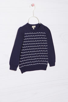 100% cotton knitted pullover, Navy Blue, hi-res