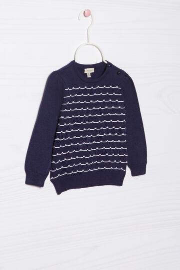 Pullover tricot puro cotone, Blu navy, hi-res