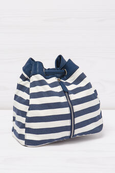 Bag with striped pattern., White/Blue, hi-res