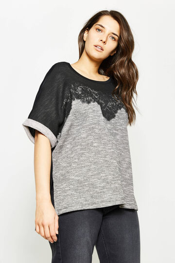 Curvy two-tone T-shirt with lace, Black/Grey, hi-res