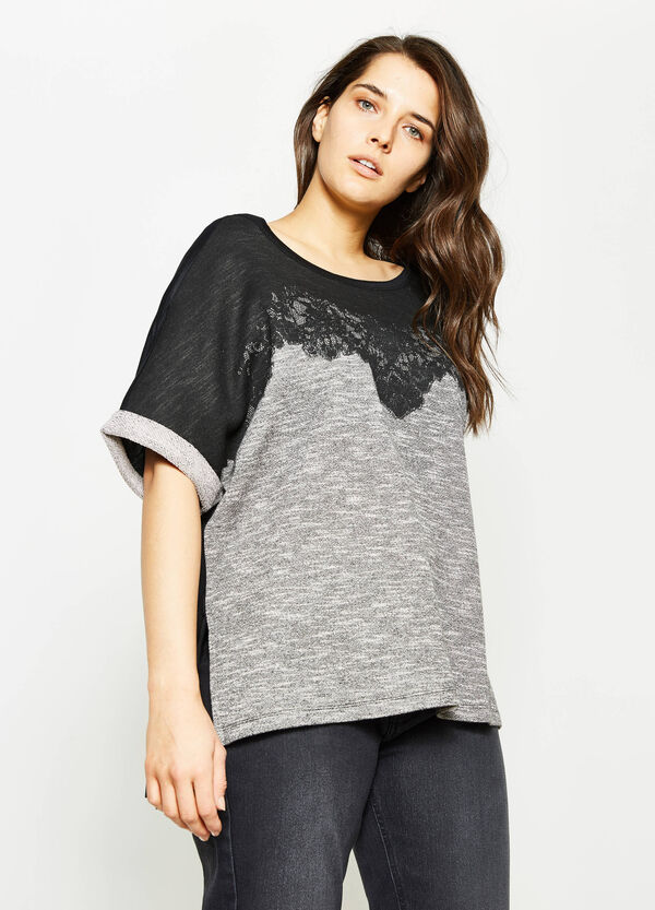Curvy two-tone T-shirt with lace | OVS