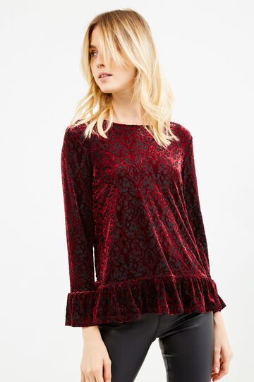 Velvet T-shirt with flounces, Red, hi-res