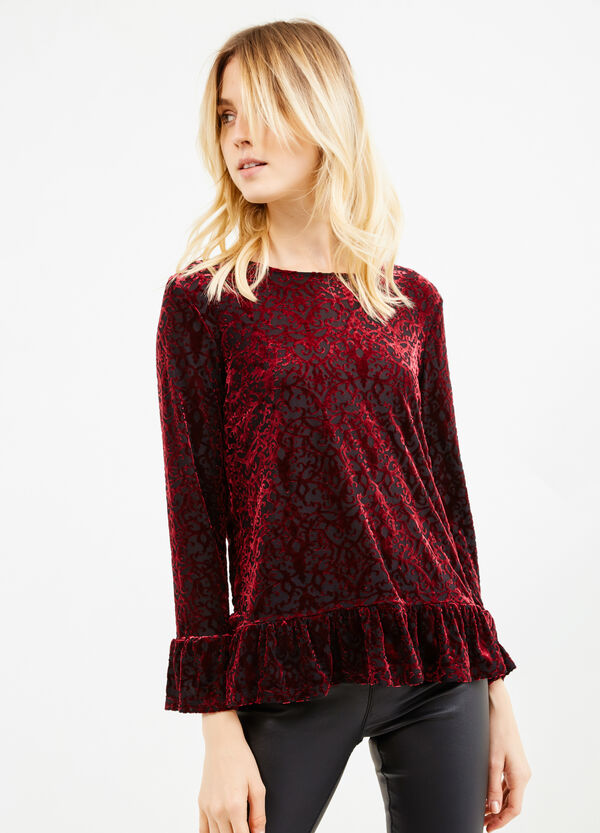 Velvet T-shirt with flounces | OVS