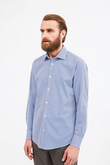 Slim-fit formal shirt with hounds' tooth pattern, White/Blue, hi-res
