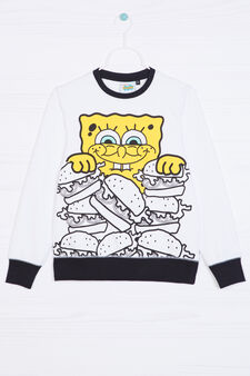 100% cotton hoodie with SpongeBob print, White, hi-res