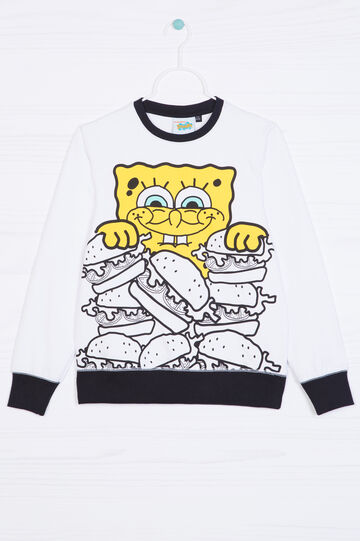 100% cotton hoodie with SpongeBob print, White, hi-res