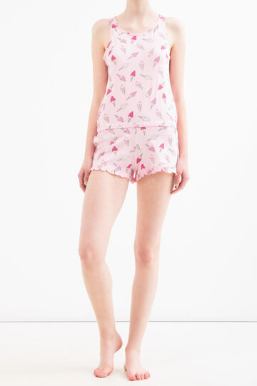 Cotton sleepsuit with ice cream print, Pink, hi-res