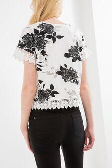 T-shirt crop viscosa stretch fantasia, Nero, hi-res