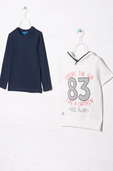 Cotton T-shirt and sweatshirt outfit, White/Blue, hi-res