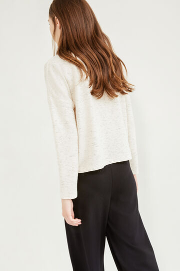 Solid colour viscose blend sweatshirt, Beige, hi-res