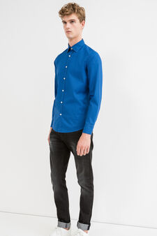 Slim fit micro-check casual shirt, Blue, hi-res