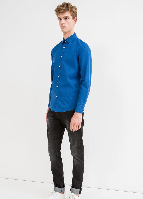 Slim fit micro-check casual shirt | OVS