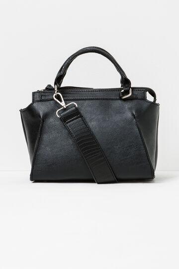 Handbag with detachable shoulder strap, Black, hi-res
