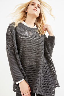 Curvy knitted pullover, Grey, hi-res