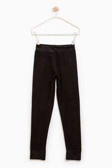 100% cotton joggers with drawstring, Black, hi-res
