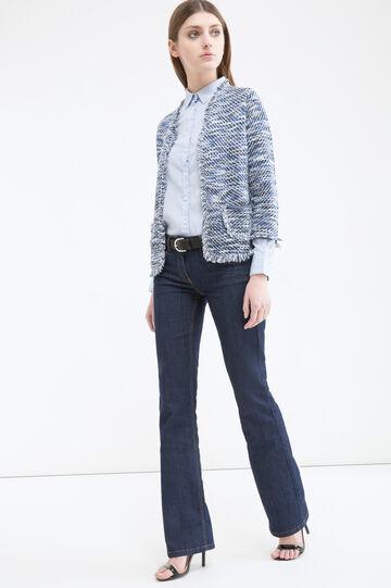 Cotton blend fringed cardigan, Blue, hi-res